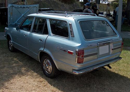 1973 Mazda RX-3 rotary wagon rear 3q