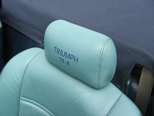 1981 Triumph TR8 convertible blue headrest