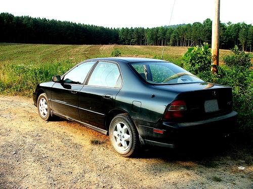 1995 Honda Accord V-6 sedan rear 3q © 2005 Austin Delk (CC BY 2.0 Generic - modified by Aaron Severson)